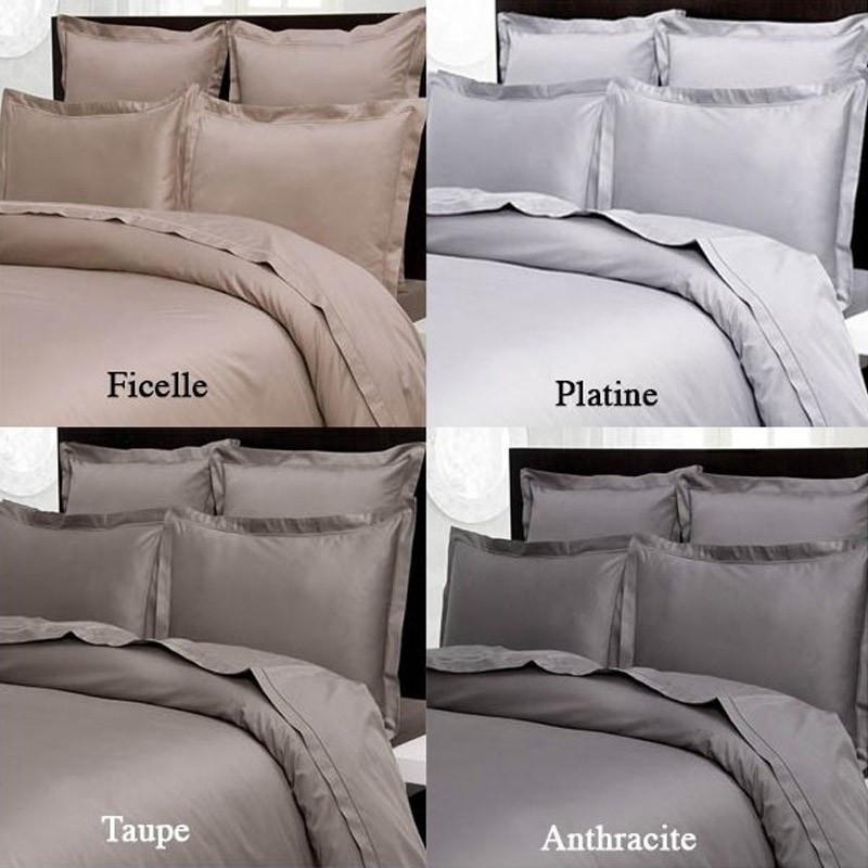 taie d 39 oreiller 65x65 satin de coton prestige 240 fils cm. Black Bedroom Furniture Sets. Home Design Ideas