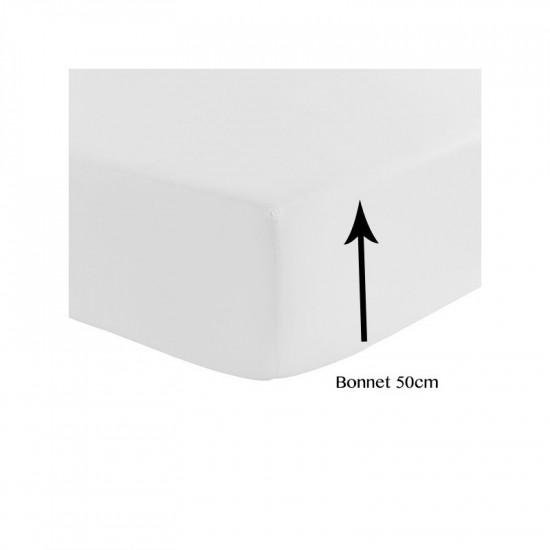 Drap Housse Satin de Coton 120 fils/cm² BONNET 50 cm