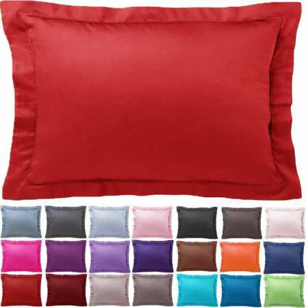 Taie d'oreiller Unie Rectangle 50x70 Satin de Coton 120 fils/cm²