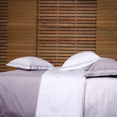 Housse de Couette Bicolore Percale Gris Perle / Blanc