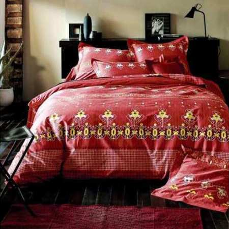 Parure de Draps 4 Pieces India Rouge (DH140_DP240_2TO)