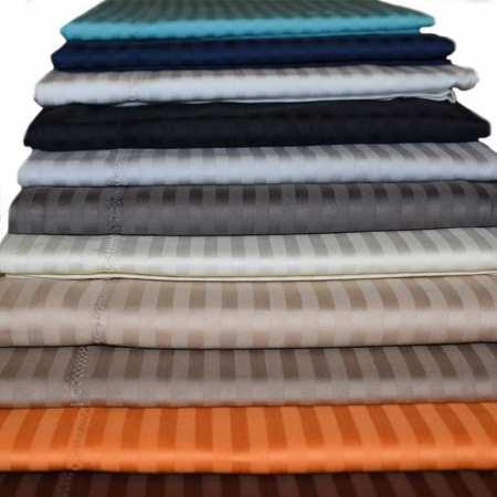 Drap Plat Satin de Coton 120 fils/cm² Fines Rayures