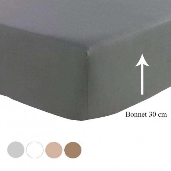 Drap Housse Satin de Coton Prestige 240 Fils/cm² Blanc bonnet 30cm