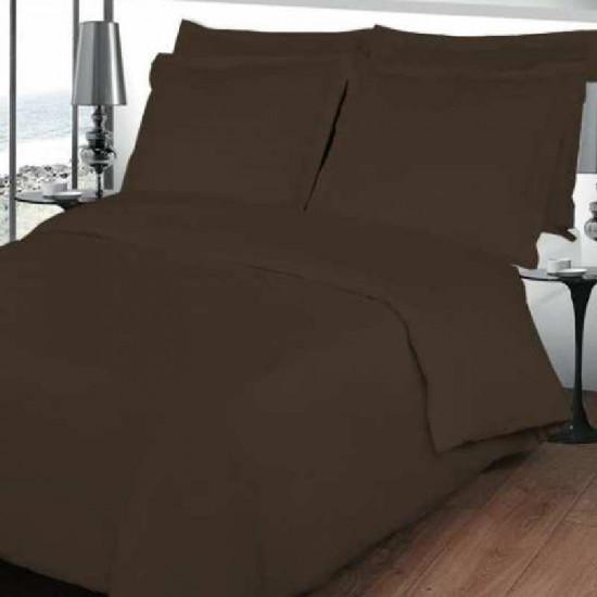 housse de couette chocolat en percale 80 fils cm2. Black Bedroom Furniture Sets. Home Design Ideas