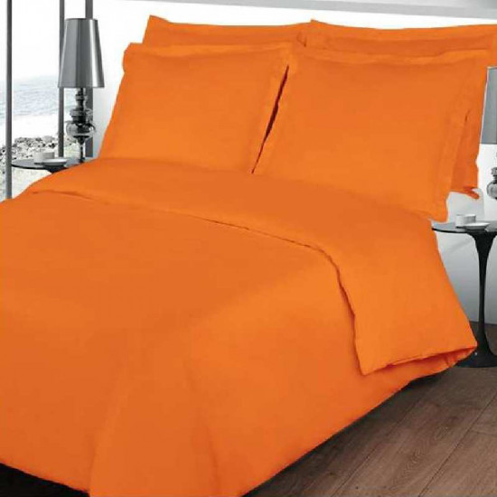 housse de couette orange percale de coton. Black Bedroom Furniture Sets. Home Design Ideas