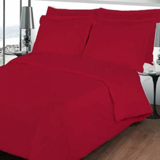housse de couette rouge en percale de coton. Black Bedroom Furniture Sets. Home Design Ideas