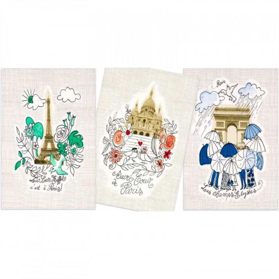 Lot de 3 Torchons 50x75 Paris Monuments - Vent du Sud