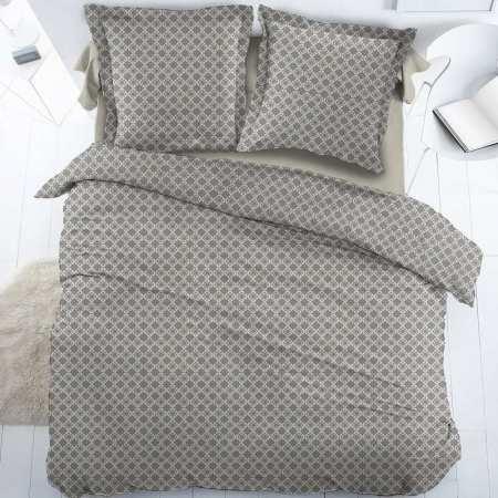 Parure de draps Mosaique Gris Perle Percale 1 pers (DH90_DP180_1TO)