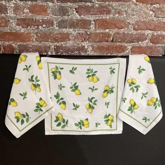Lot de 3 Essuie-Mains 50 x 50 cm Citrons