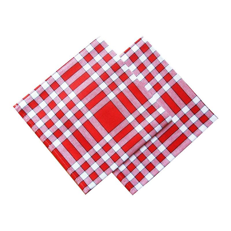 Lot de 6 serviettes de table 50x50 carreaux normands rouge - Serviettes de table ...