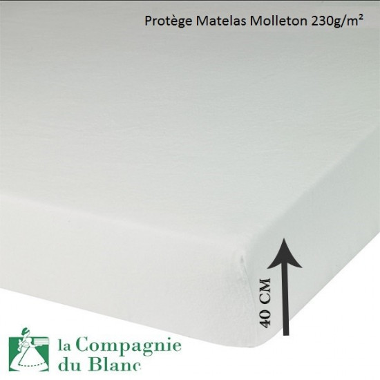prot ge matelas molleton 230g m bonnet 40 cm la compagnie du blanc. Black Bedroom Furniture Sets. Home Design Ideas