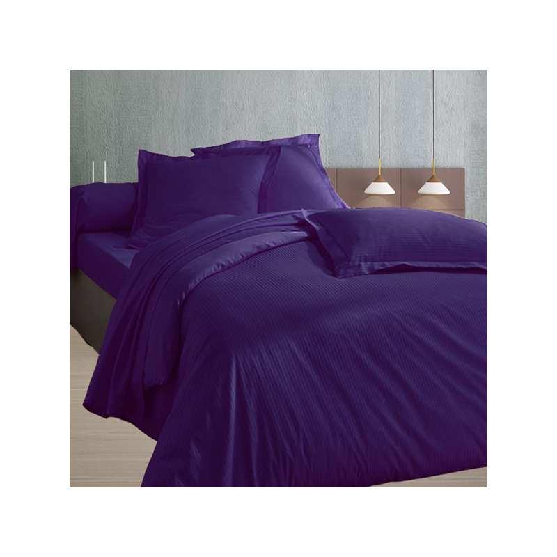 200x200 satin de coton housse de couette prune. Black Bedroom Furniture Sets. Home Design Ideas