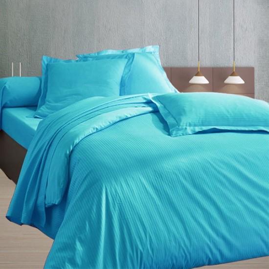 220x240 satin de coton housse de couette turquoise for Housse de couette turquoise