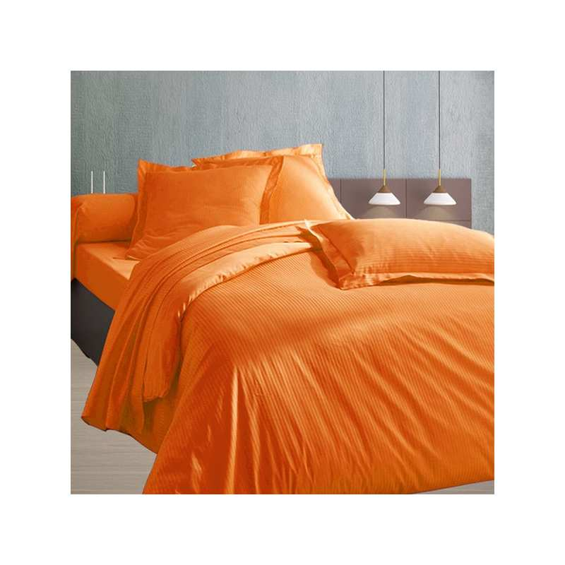 240x260 satin de coton housse de couette bleu orange for Drap housse 240x260