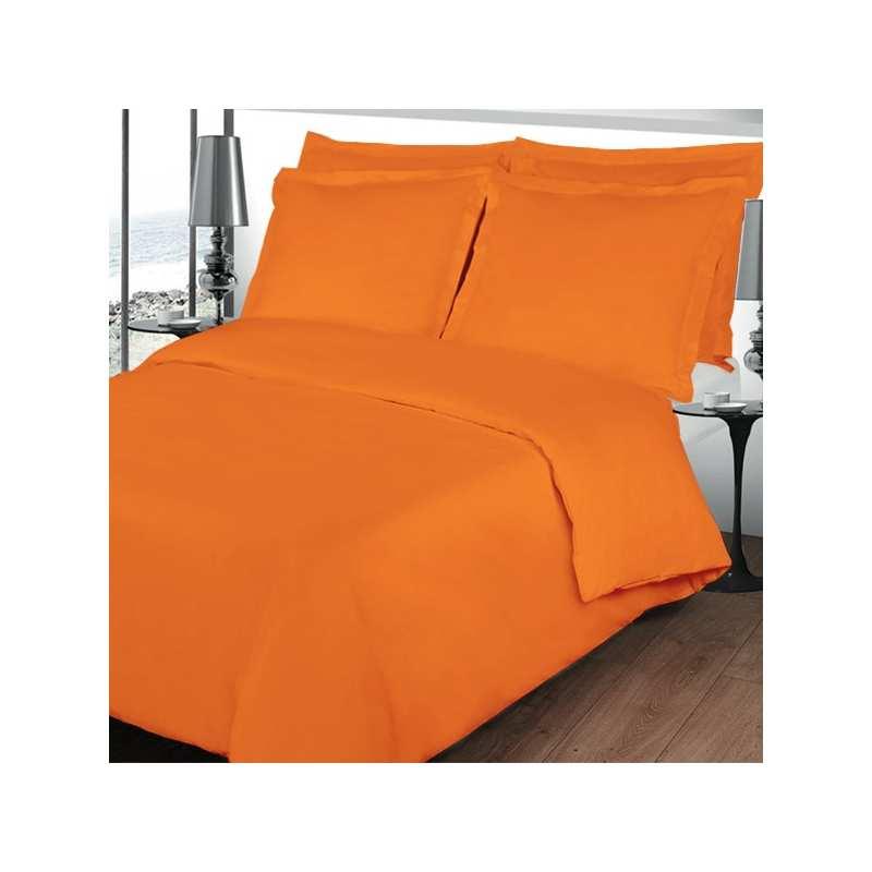Housse de couette 200x200 linge de lit 200x200 orange for Housse de couette 200x200 bleu