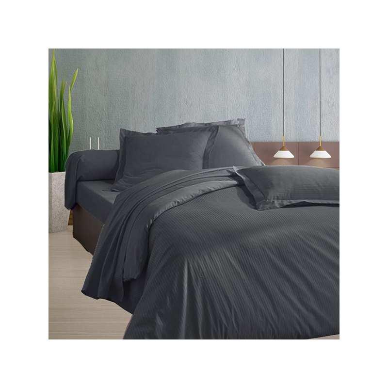 220x240 satin de coton housse de couette anthracite. Black Bedroom Furniture Sets. Home Design Ideas