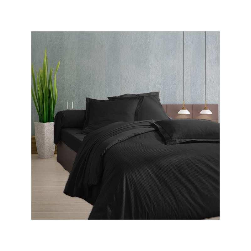 housse de couette 240x260 noir satin de coton. Black Bedroom Furniture Sets. Home Design Ideas
