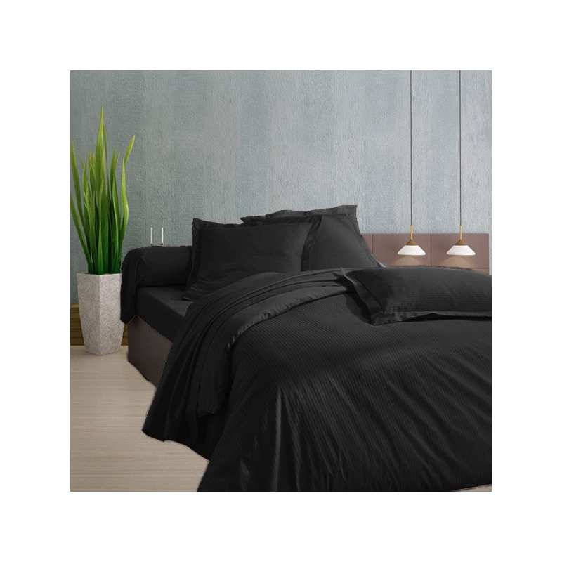 housse de couette 240x260 noir satin de coton. Black Bedroom Furniture Sets. Home Design Ideas