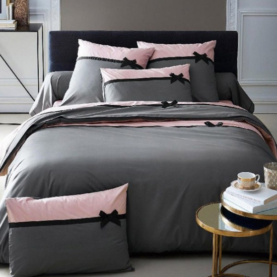 Housse de Couette Frou Frou Anthracite percale 240x260 + 2 taies 65x65