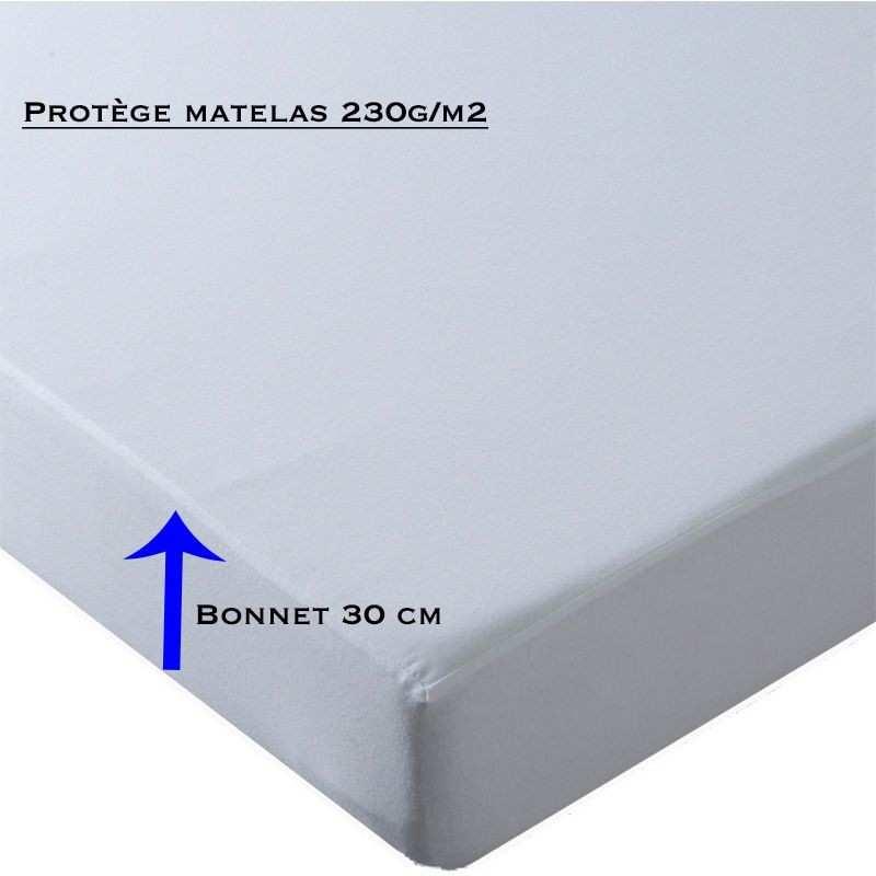 prot ge matelas molleton 100 coton 230g m2 bonnet 30 cm la compagnie du blanc. Black Bedroom Furniture Sets. Home Design Ideas