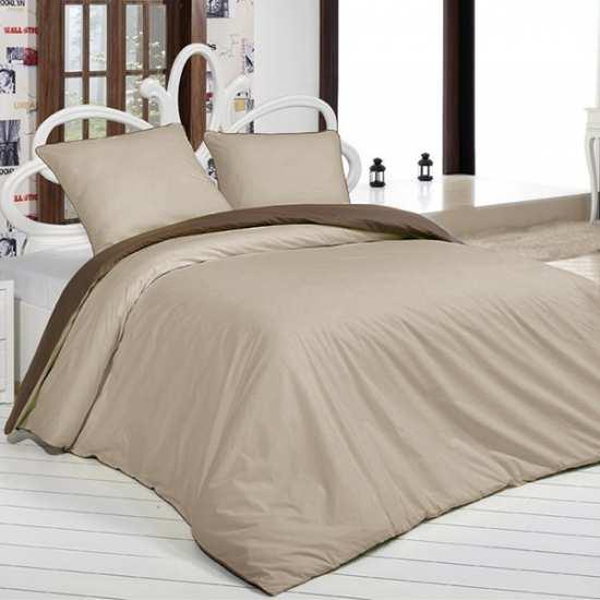 housse de couette bicolore marron 200 200. Black Bedroom Furniture Sets. Home Design Ideas