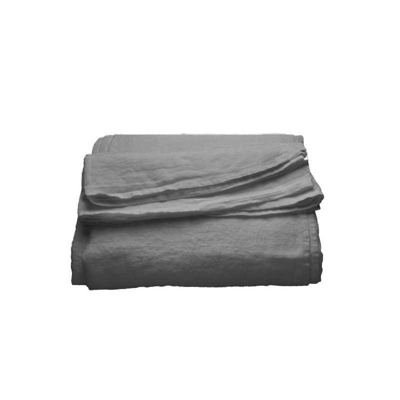 draps en lin lav gris metal. Black Bedroom Furniture Sets. Home Design Ideas