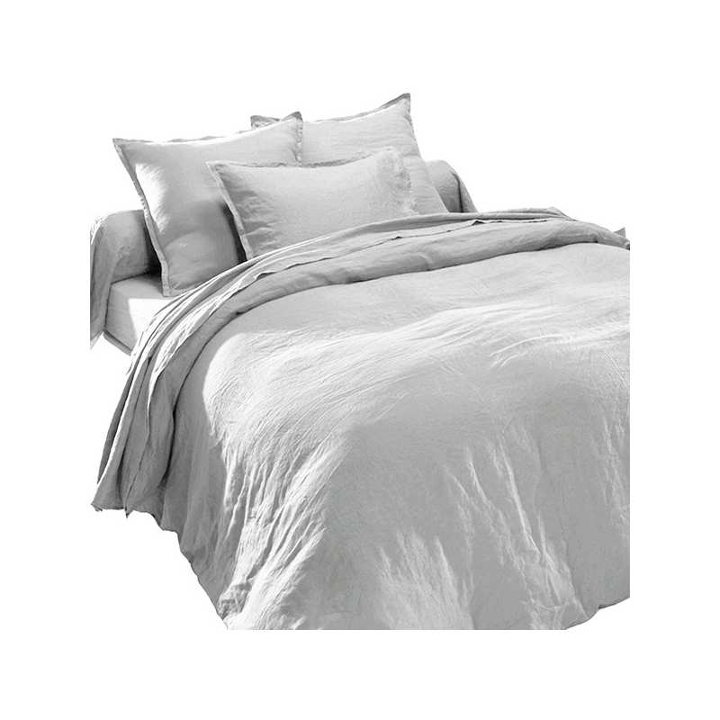 drap plat en pur lin lav luxe gris perle la compagnie du blanc. Black Bedroom Furniture Sets. Home Design Ideas