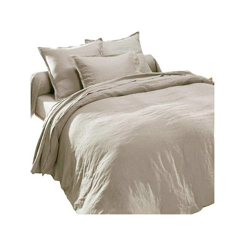 drap plat en pur lin lav luxe galet la compagnie du blanc. Black Bedroom Furniture Sets. Home Design Ideas