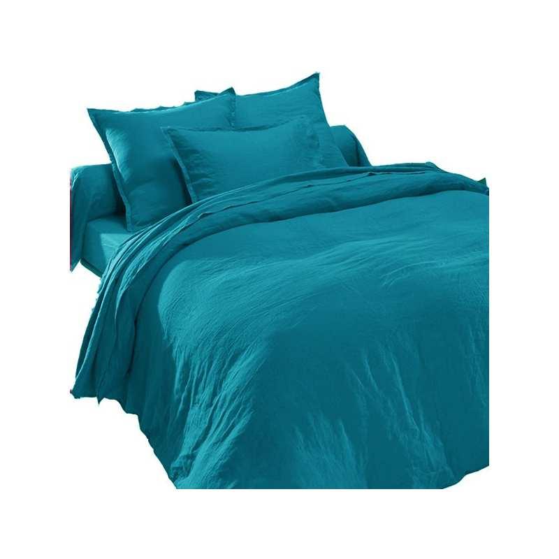 drap plat en pur lin lav luxe bleu canard la compagnie du blanc. Black Bedroom Furniture Sets. Home Design Ideas