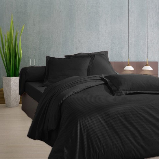 drap en satin de coton noir. Black Bedroom Furniture Sets. Home Design Ideas
