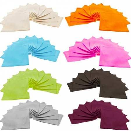 Lot de 6 Serviettes de Table Unie 45x45 100% Coton Fil Teint