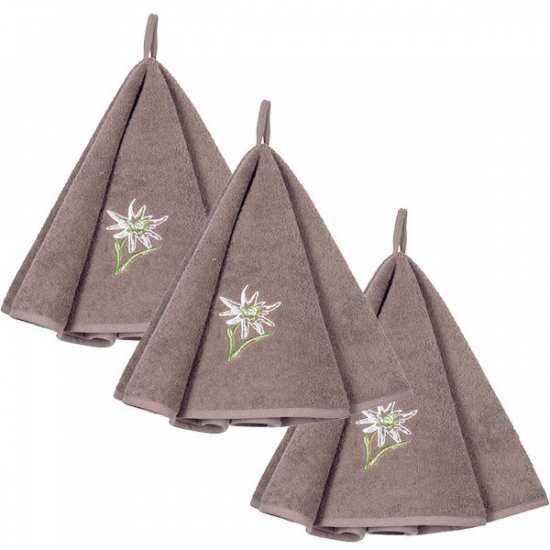 Lot de 3 Torchons Ronds Eponge Alpine Chamois