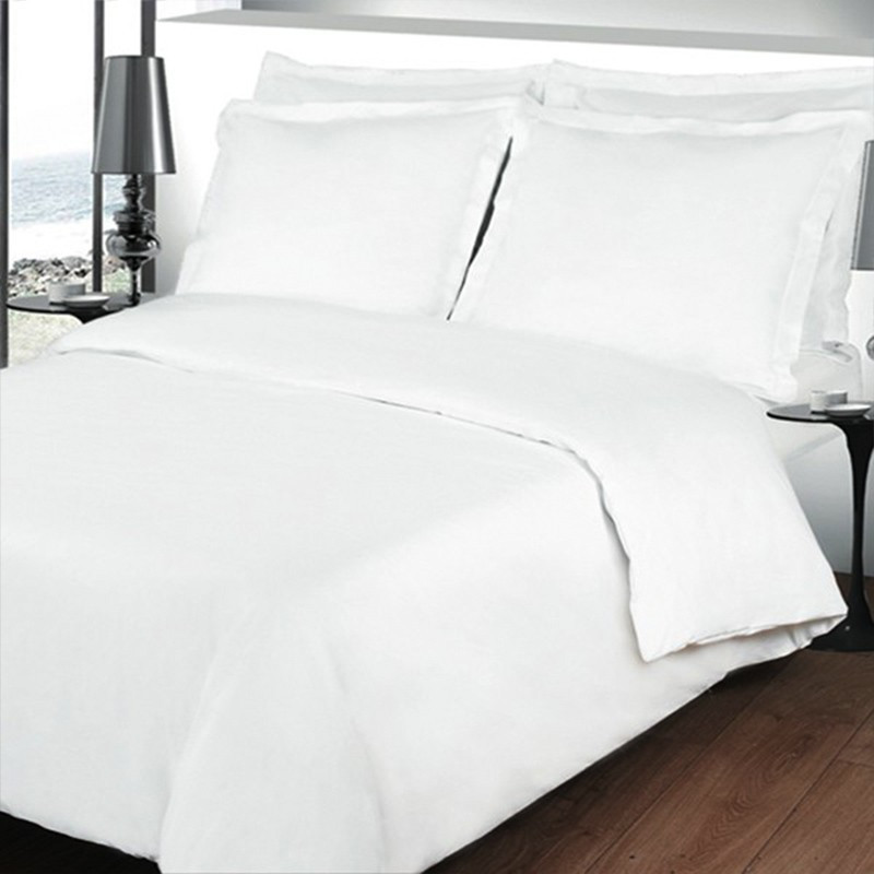 housse de couette unie percale 80 fils cm coton peign la compagnie du blanc. Black Bedroom Furniture Sets. Home Design Ideas