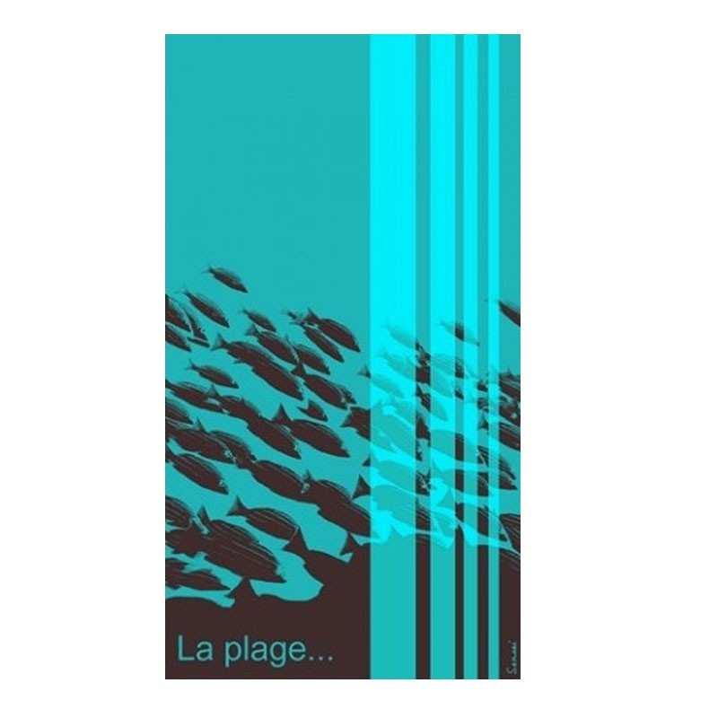 drap de plage choco turquoise la plage 100x180 sensei la compagnie du blanc. Black Bedroom Furniture Sets. Home Design Ideas