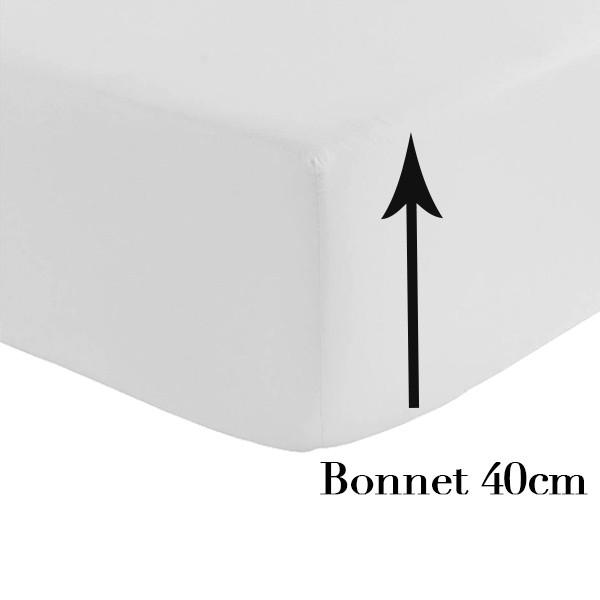 drap housse grand bonnet 40 cm la compagnie du blanc. Black Bedroom Furniture Sets. Home Design Ideas