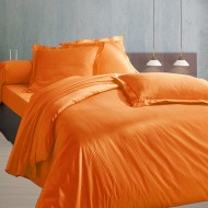Parure de Draps 4 Pieces Fines Rayures Orange (DH140_DP240_2TO)